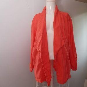 Chico's 3 orange open linen cardigan